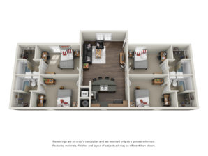 Floor plan of a four bed, four bath student apartment